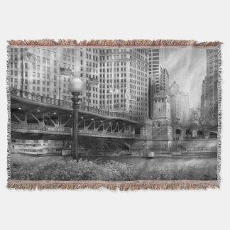 Chicago, IL - DuSable Bridge built in 1920  - BW Throw Blanket