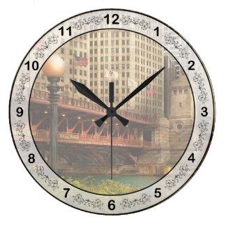 Chicago, IL - DuSable Bridge built in 1920 Wall Clocks