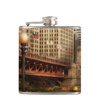 Chicago, IL - DuSable Bridge built in 1920 Hip Flask