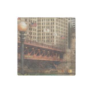 Chicago, IL - DuSable Bridge built in 1920 Stone Magnet