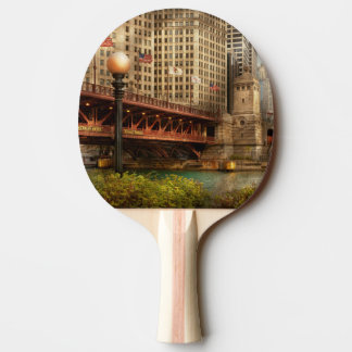 Chicago, IL - DuSable Bridge built in 1920 Ping-Pong Paddle