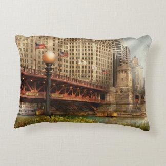 Chicago, IL - DuSable Bridge built in 1920 Accent Pillow