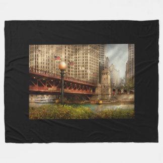Chicago, IL - DuSable Bridge built in 1920 Fleece Blanket