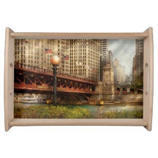 Chicago, IL - DuSable Bridge built in 1920 Serving Platters