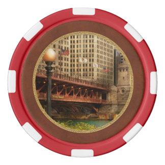 Chicago, IL - DuSable Bridge built in 1920 Poker Chips