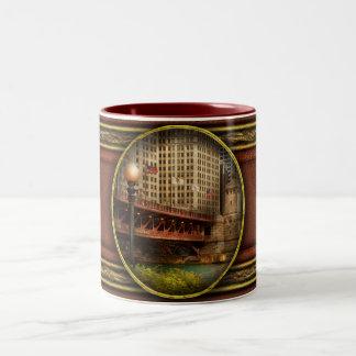 Chicago, IL - DuSable Bridge built in 1920 Two-Tone Coffee Mug