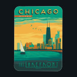 """Chicago, IL - Enjoy the Lakefront Magnet<br><div class=""""desc"""">Anderson Design Group is an award-winning illustration and design firm in Nashville,  Tennessee. Founder Joel Anderson directs a team of talented artists to create original poster art that looks like classic vintage advertising prints from the 1920s to the 1960s.</div>"""