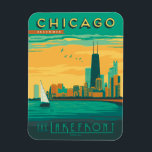 "Chicago, IL - Enjoy the Lakefront Magnet<br><div class=""desc"">Anderson Design Group is an award-winning illustration and design firm in Nashville,  Tennessee. Founder Joel Anderson directs a team of talented artists to create original poster art that looks like classic vintage advertising prints from the 1920s to the 1960s.</div>"