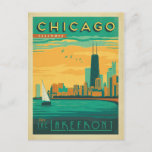 """Chicago, IL - Enjoy the Lakefront Postcard<br><div class=""""desc"""">Anderson Design Group is an award-winning illustration and design firm in Nashville,  Tennessee. Founder Joel Anderson directs a team of talented artists to create original poster art that looks like classic vintage advertising prints from the 1920s to the 1960s.</div>"""