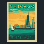 "Chicago, IL - Enjoy the Lakefront Postcard<br><div class=""desc"">Anderson Design Group is an award-winning illustration and design firm in Nashville,  Tennessee. Founder Joel Anderson directs a team of talented artists to create original poster art that looks like classic vintage advertising prints from the 1920s to the 1960s.</div>"