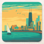 "Chicago, IL - Enjoy the Lakefront Square Paper Coaster<br><div class=""desc"">Anderson Design Group is an award-winning illustration and design firm in Nashville,  Tennessee. Founder Joel Anderson directs a team of talented artists to create original poster art that looks like classic vintage advertising prints from the 1920s to the 1960s.</div>"