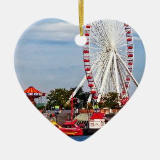 Chicago IL - Ferris Wheel at Navy Pier Ceramic Ornament