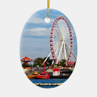 Chicago IL - Ferris Wheel at Navy Pier Double-Sided Oval Ceramic Christmas Ornament