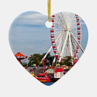 Chicago IL - Ferris Wheel at Navy Pier Double-Sided Heart Ceramic Christmas Ornament
