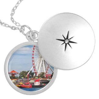 Chicago IL - Ferris Wheel at Navy Pier Round Locket Necklace