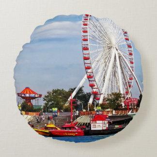 Chicago IL - Ferris Wheel at Navy Pier Round Pillow