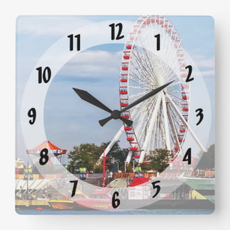 Chicago IL - Ferris Wheel at Navy Pier Square Wall Clock