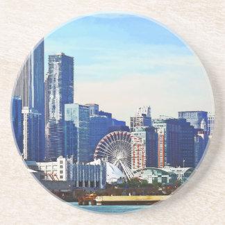 Chicago IL - Horizonte de Chicago y embarcadero de Posavasos Diseño
