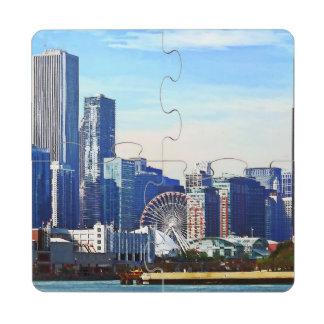 Chicago IL - Horizonte de Chicago y embarcadero de Posavasos De Puzzle