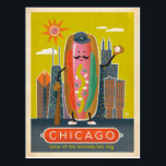 "Chicago, IL - Hot Dog Postcard<br><div class=""desc"">Anderson Design Group is an award-winning illustration and design firm in Nashville,  Tennessee. Founder Joel Anderson directs a team of talented artists to create original poster art that looks like classic vintage advertising prints from the 1920s to the 1960s.</div>"