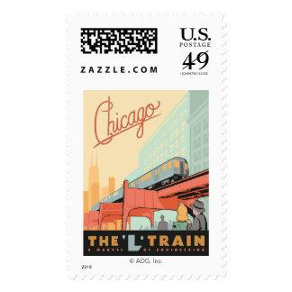 Chicago, IL - 'L' Train Postage Stamp