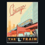 "Chicago, IL - &#39;L&#39; Train Postcard<br><div class=""desc"">Anderson Design Group is an award-winning illustration and design firm in Nashville,  Tennessee. Founder Joel Anderson directs a team of talented artists to create original poster art that looks like classic vintage advertising prints from the 1920s to the 1960s.</div>"