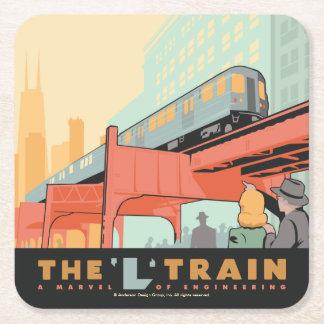 Chicago, IL - 'L' Train Square Paper Coaster