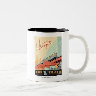 Chicago, IL - 'L' Train Two-Tone Coffee Mug