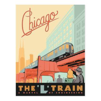 """Chicago, IL - """"L"""" tren Tarjeta Postal"""