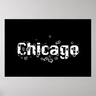 Chicago IL Mafia History Boss Gunshots Holes Sign Poster