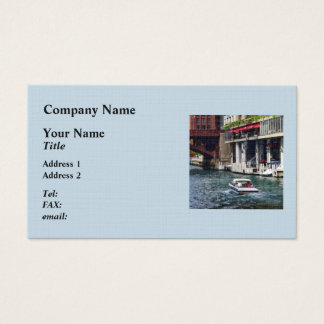 Chicago IL - Motorboat Near Dearborn Street Bridge Business Card