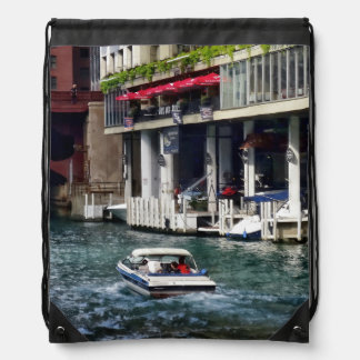 Chicago IL - Motorboat Near Dearborn Street Bridge Drawstring Bag