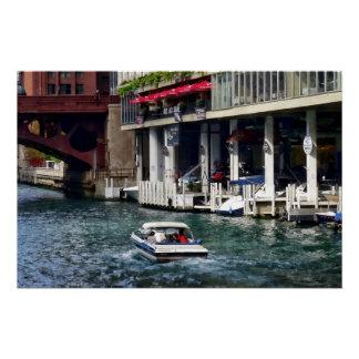 Chicago IL - Motorboat Near Dearborn Street Bridge Poster