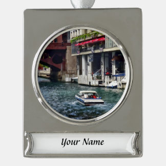 Chicago IL - Motorboat Near Dearborn Street Bridge Silver Plated Banner Ornament