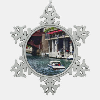 Chicago IL - Motorboat Near Dearborn Street Bridge Snowflake Pewter Christmas Ornament