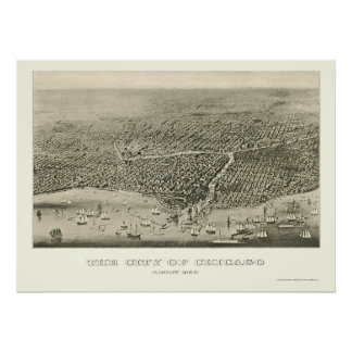 Chicago, IL Panoramic Map - 1860 Poster