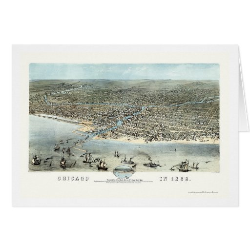 Chicago, IL Panoramic Map - 1868 Cards
