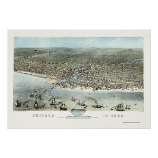 Chicago IL Panoramic Map - 1868 Poster