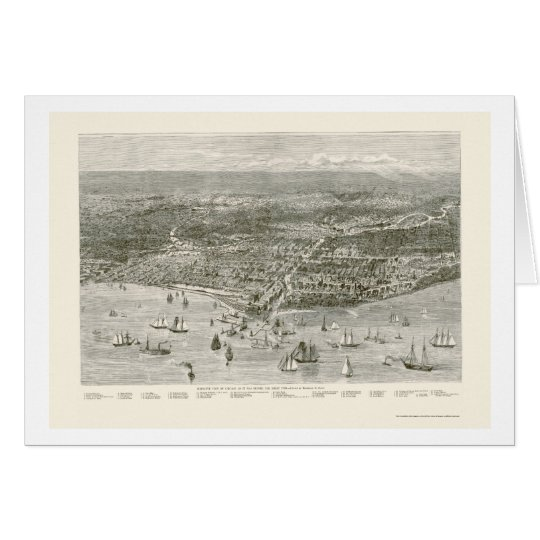 Chicago, IL Panoramic Map - 1871 Card
