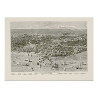 Chicago IL Panoramic Map - 1871 Posters