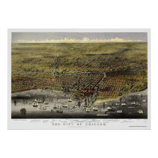 Chicago, IL Panoramic Map - 1874 Poster