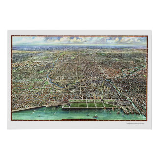 Chicago, IL Panoramic Map - 1916 Poster
