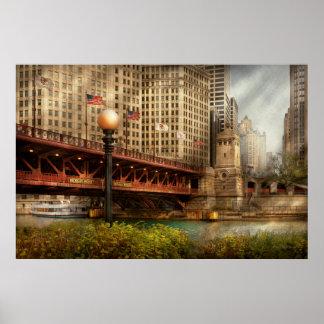 Chicago, IL - puente de DuSable construido en 1920 Póster