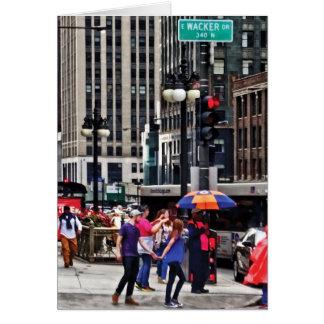 Chicago IL - Rainy Day on E Wacker Drive Card