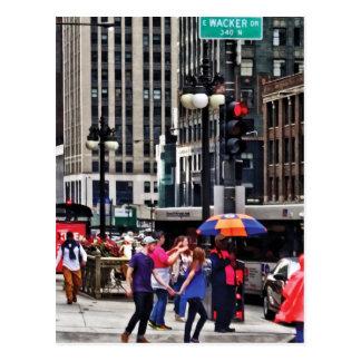 Chicago IL - Rainy Day on E Wacker Drive Postcard