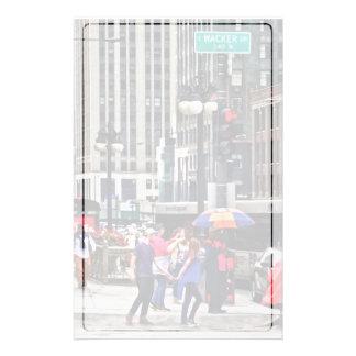 Chicago IL - Rainy Day on E Wacker Drive Stationery