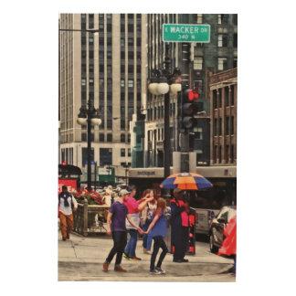 Chicago IL - Rainy Day on E Wacker Drive Wood Print