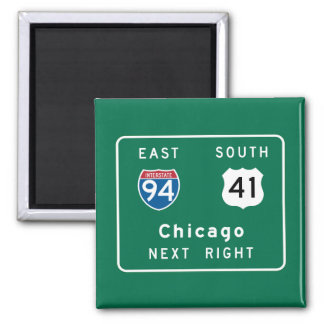 Chicago, IL Road Sign 2 Inch Square Magnet