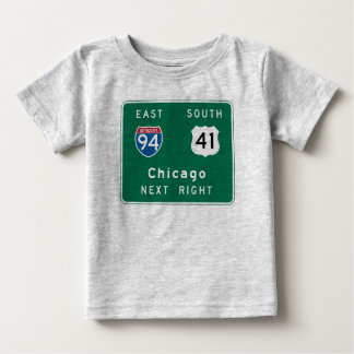 Chicago, IL Road Sign Baby T-Shirt