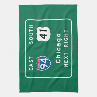 Chicago, IL Road Sign Hand Towel